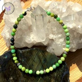 Chrysoprase Healing Bracelet with Silver Clasp